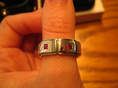 Evan's ring... 6 Princess Cut Rubies!