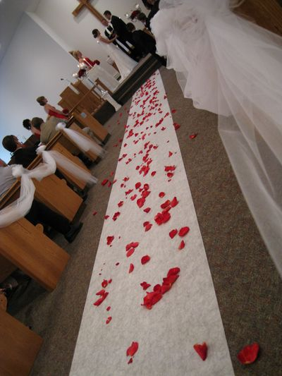 I think the flower girl spilled a few rose petals along the way?